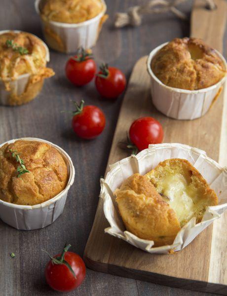 Muffins de tomate confitado y raclette Entremont