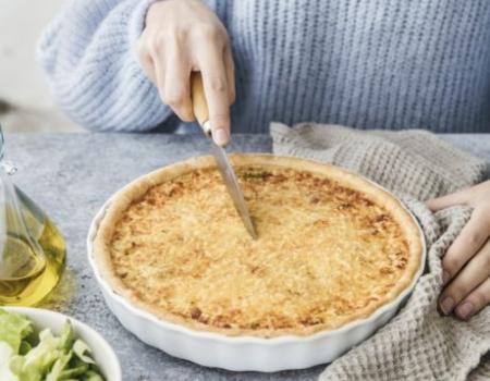 Tarta de puerros y queso emmental Entremont rallado